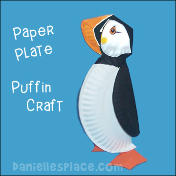 Paper plate puffin craft for kids