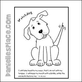 Watchdog Coloring Sheet with Bible verse from www.daniellesplace.com