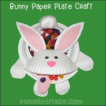 Easter Craft - Paper Plate Easter Bunny Candy Dish Craft Kids Can Make www.daniellesplace.com