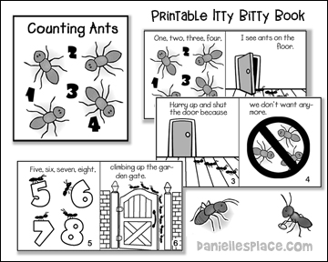 Counting Ants Printable Itty Bitty Book from www.daniellesplace.com