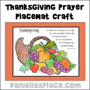 Thanksgiving poem Placemat Craft