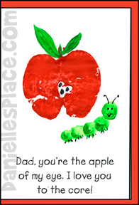 """Dad, You're the Apple of My Eye.  I Love You to the Core!"" Father's Day Card Craft of Kids"