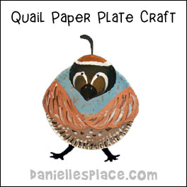 Sunday School Bible Craft Paper plate Quail Craft from www.daniellesplace.com