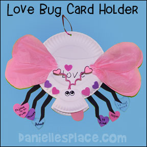 Paper Plate Love Bug Card Holder sunday school craft for kids from www.daniellesplace.com
