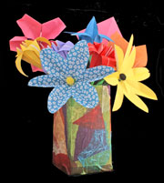 craft origami glower arrangement in paper mache vase