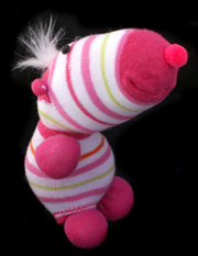 Striped Critter Sock Dog Craft 4