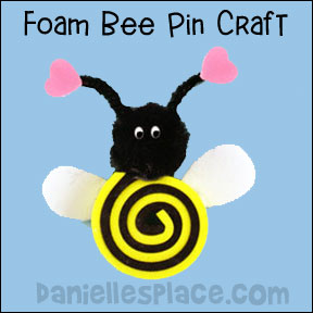Foam Bee Pin Craft for Kids from www.daniellesplace.com