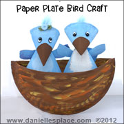 Birds in Nest Paper Plate Nest Craft