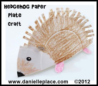 hedgehog paper plate craft www.daniellesplace.com