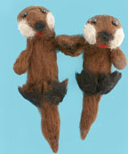 Otters Holding Hand Felted Craft