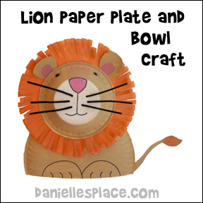 Paper Plate and Bowl Lion Craft Children Can Make www.daniellesplace.com