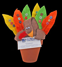 Thanksgiving Turkey Pot With Feather Pens
