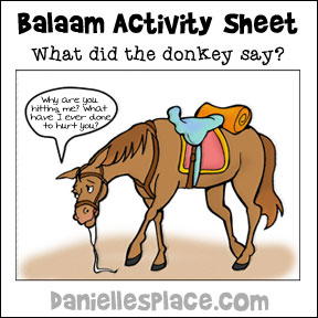 What did the donkey say? Activity Sheet for Balaam Sunday School lesson from www.daniellesplace.com