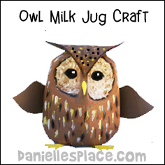 Milk Jug Owl Craft for Children from www.daniellesplace.com