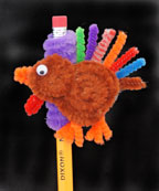 Chenille Stem Thanksgiving Turkey Pencil top or broach