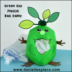 Green Guy Plastic Grocery Bag Caddy Milk Jug Recycle Craft for Earth Day www.daniellesplace.com