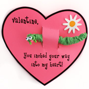 Inchworm Printable Valentine's Day Card Craft for Kids