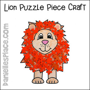 Lion with Puzzle Piece Mane Bible Craft