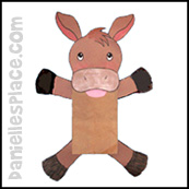 sunday school Donkey Paper Bag Puppet bible craft