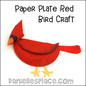 Cardinal or Bird Paper Plate Craft for Children from www.daniellesplace.com