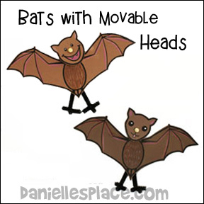 Bats with Moveable Heads Craft for Kids www.daniellesplace.com