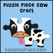 Cow Puzzle Piece Craft for Kids from www.daniellesplace.com