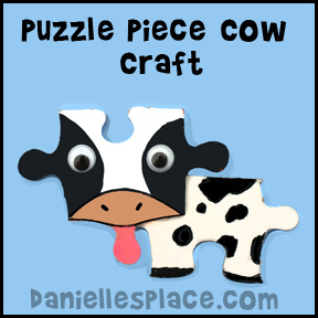 Cow Puzzle Piece Craft for Kids www.daniellesplace.com