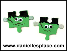 Frankenstein Magnet or Pin Puzzle Piece Craft www.daniellesplace.com