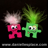 Monster Magnet or Pin Puzzle Piece Craft for Kids www.daniellesplace.com