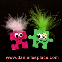 Monster  puzzle piece craft for kids www.daniellesplace.com
