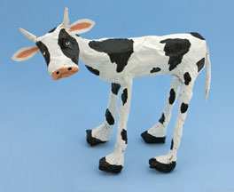 cow newspaper sculpture craft for kids