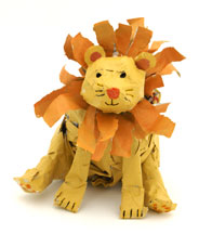 lion newspaper sculpture craft