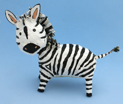 zebra newspaper and tape sculpture craft