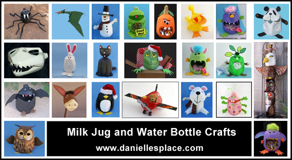 Milk jug and water Bottle Crafts for Kids www.daniellesplace.com