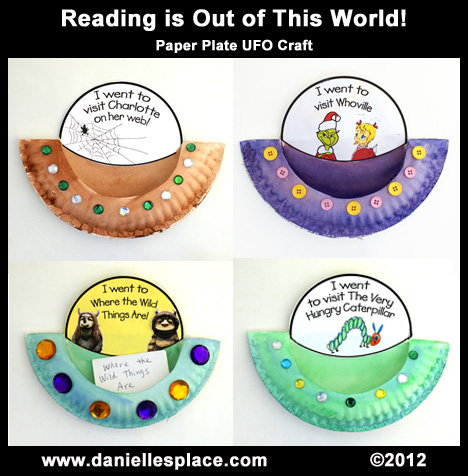 Reading is Out of This World Paper Plate Activity and Bulletin Board Display www.daniellesplace.com
