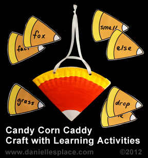 Candy Corn Caddy Craft with Learning Activities www.daniellesplace.com