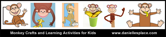 Monkey Crafts and Activities for Kids www.daniellesplace.com