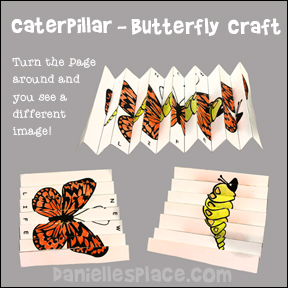 Caterpillar changing to a Butterfly Paper Folding Craft for Kids from www.daniellesplace.com