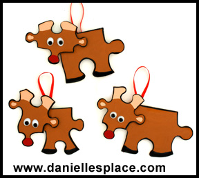 Reindeer Puzzle Piece Christmas Ornament