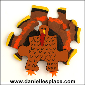 Turkey Puzzle Pieces Pin for Thanksgiving www.daniellesplace.com