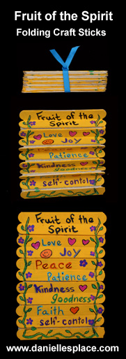 Fruit of the Spirit Folding Craft Stick Bible Craft for Sunday School from www.daniellesplace.com