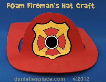 Craft Foam Fireman's Hat Craft for Kids www.daniellesplace.com