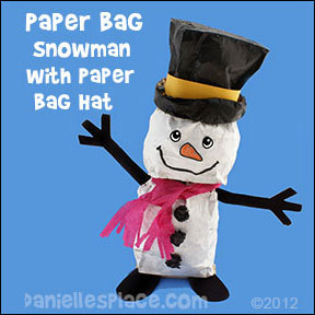 Paper Bag Snowman with Paper Bag Hat Craft for Kids www.daniellesplace.com