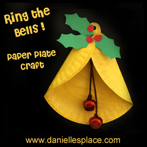 Paper plate Christmas Bell Craft for Kids www.daniellesplace.com