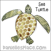 Sea Turtle with Bubble Wrap Pattern Craft for Kids www.daniellesplace.com