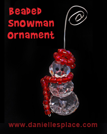Beaded Snowman Christmas Ornament www.daniellesplace.com