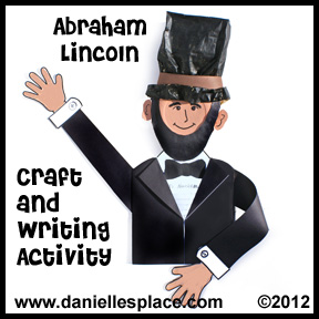 Abraham Lincoln Paper Plate Craft and Writing Activity Sheet