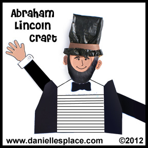 Abraham Lincoln Paper Bag and Paper Plate Craft and Writing Activity