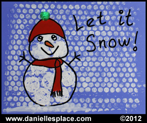 Bubble Wrap snowman and snow craft for children www.daniellesplace.com