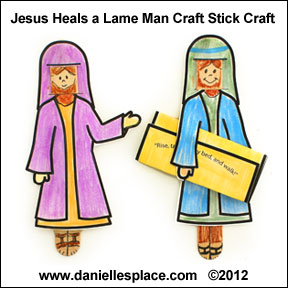 Jesus Heals Lame Man Craft http://www.daniellesplace.com/html/bible-themes-miracles.html